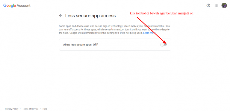 Cara Allow less secure apps