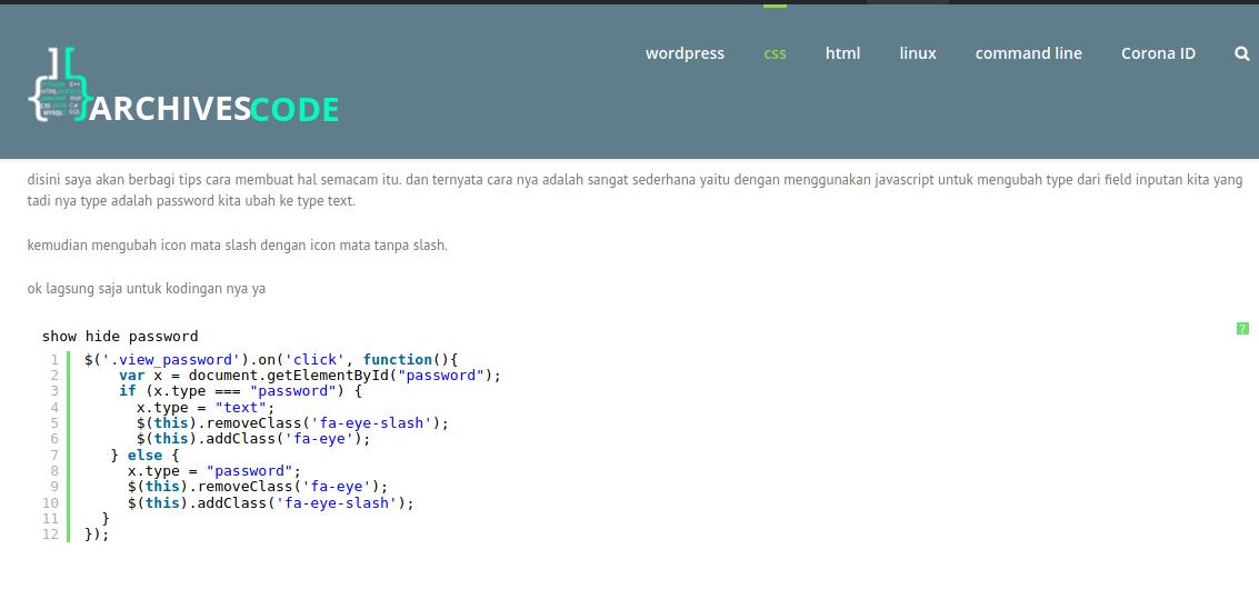 , cara menampilkan dan menyembunyikan password pada form login, Archivescode, Archivescode