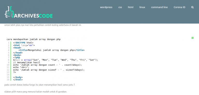 cara mendapatkan jumlah array dengan php