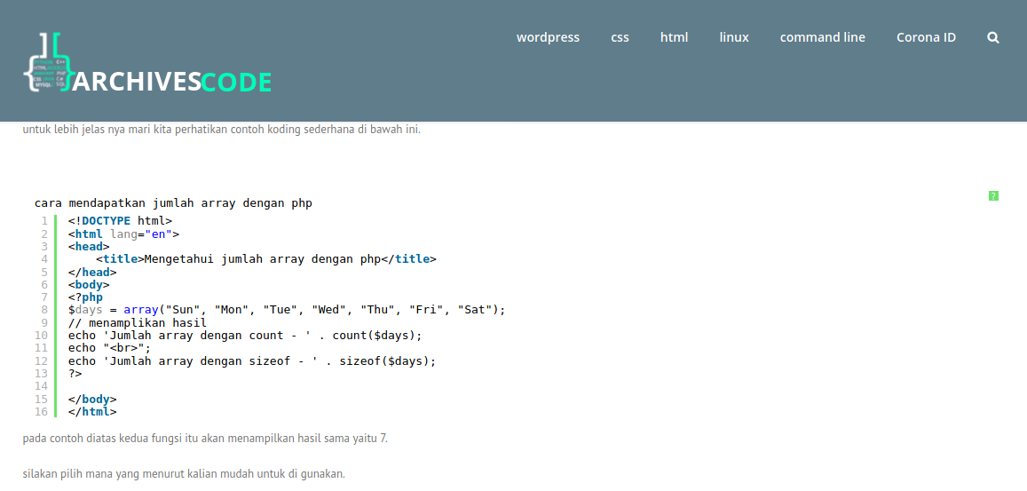 array php, Archivescode