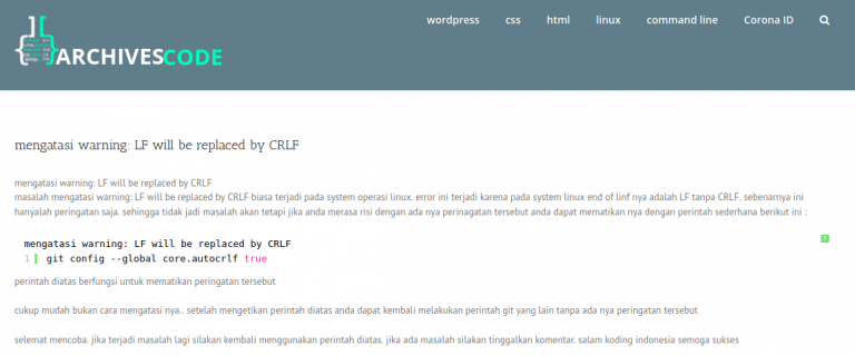 mengatasi warning: LF will be replaced by CRLF