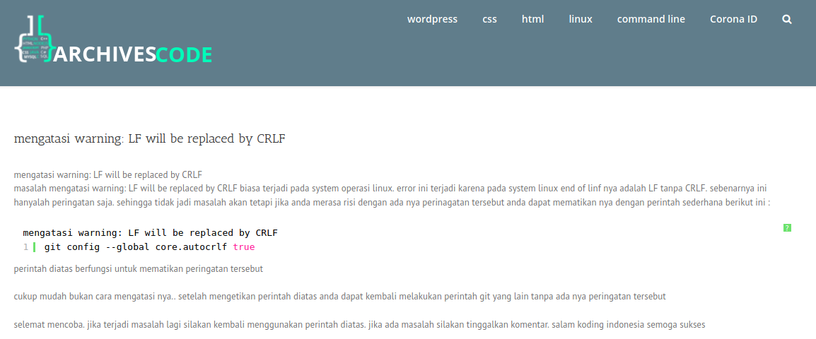 , mengatasi warning: LF will be replaced by CRLF, Archivescode, Archivescode