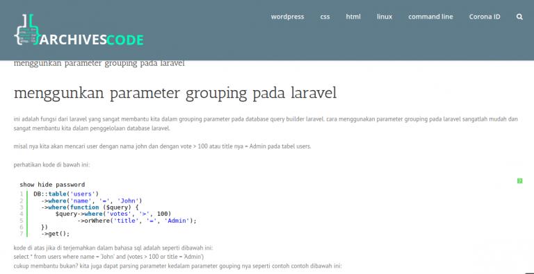 menggunkan parameter grouping pada laravel
