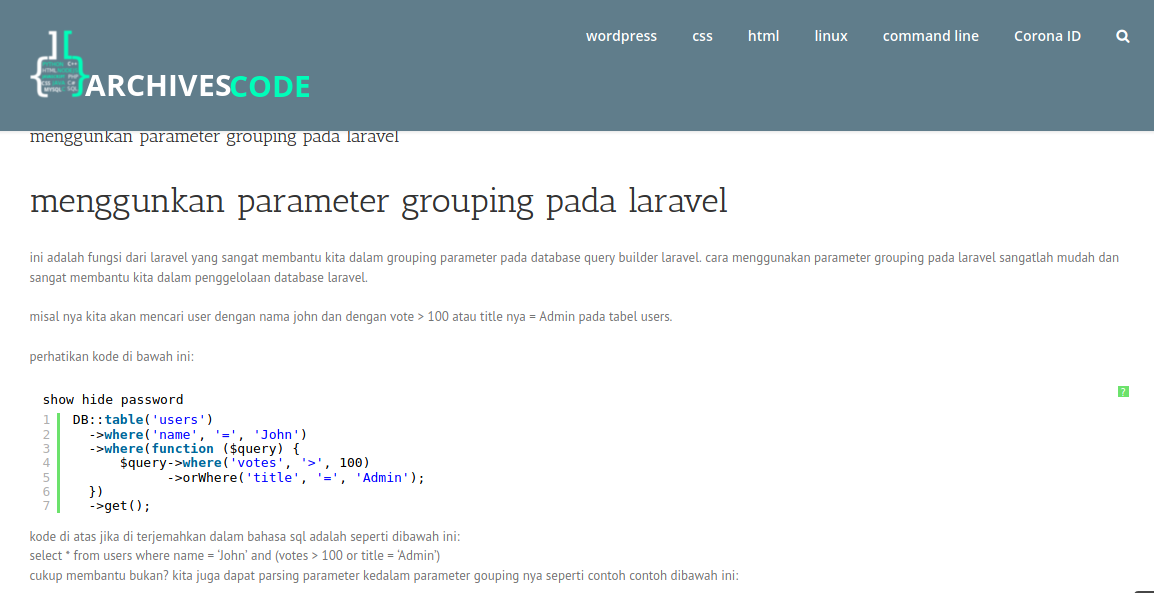, menggunkan parameter grouping pada laravel, Archivescode, Archivescode
