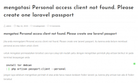mengatasi Personal access client not found. Please create one laravel passport