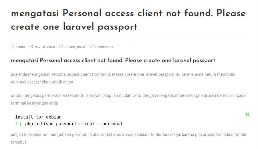 Personal access client not found. Please create one laravel passport, mengatasi Personal access client not found. Please create one laravel passport, Archivescode, Archivescode