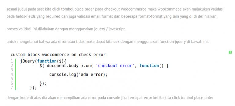 check jika ada error pada checkout woocommerce dengan jquery