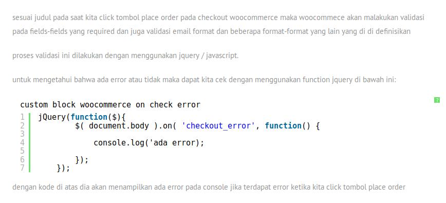 check jika ada error pada checkout woocommerce dengan jquery, Archivescode