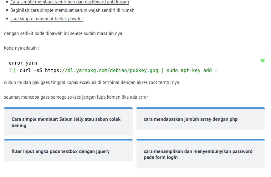mengatasi Failed to fetch https://dl.yarnpkg.com/debian/dists/stable/InRelease, Archivescode