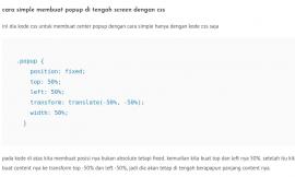 cara simple membuat popup di tengah screen dengan css