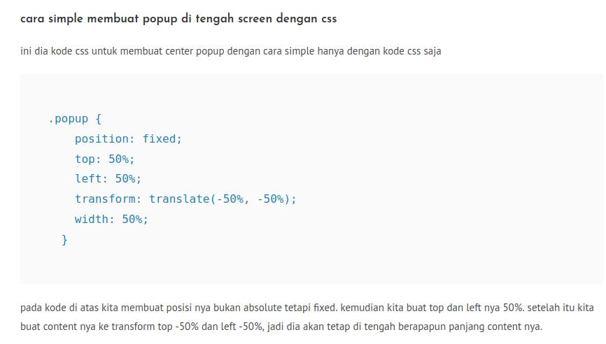 cara simple membuat popup di tengah screen dengan css, Archivescode