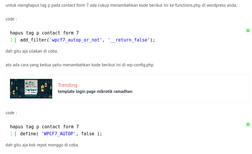 Remove / menghapus tag p pada contact from 7 wordpress, Archivescode