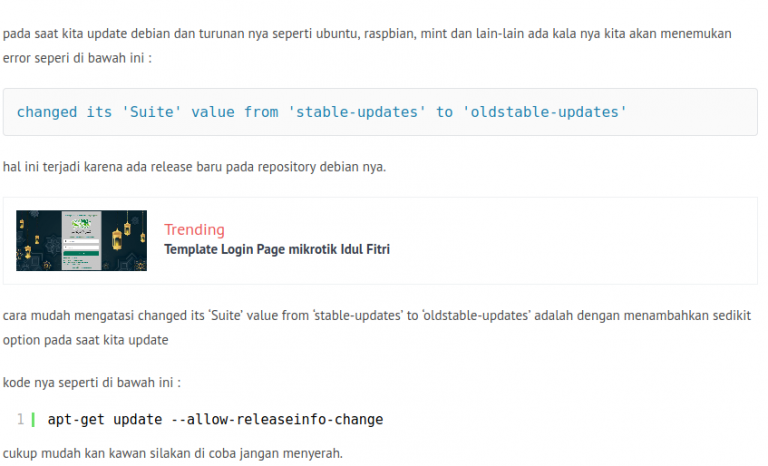 mengatasi changed its 'Suite' value from 'stable-updates' to 'oldstable-updates'